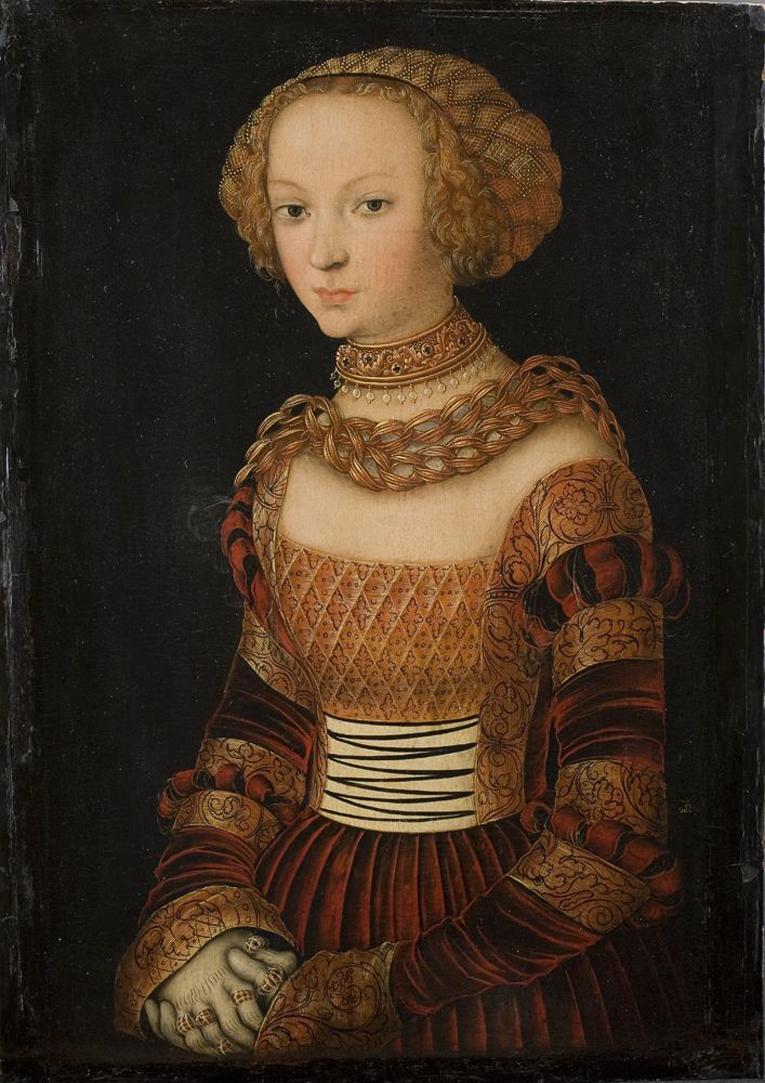 Lucas Cranach vanhempi, työhuone Nuoren naisen muotokuva (Prinsessa Emilia Saksilainen?) ennen 1537.