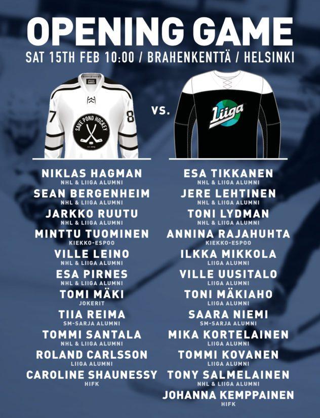 Turnaus käynnistyy näytösottelulla, jossa Save Pond Hockey kohtaa Liiga Climate Champions -joukkueen.