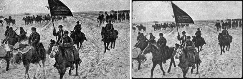 Vasemmalla Huuhkanmäen sotamuseon kuva hirvestä ratsuväessä, oikealla alkuperäinen kuva venäläisestä Wikipediasta.