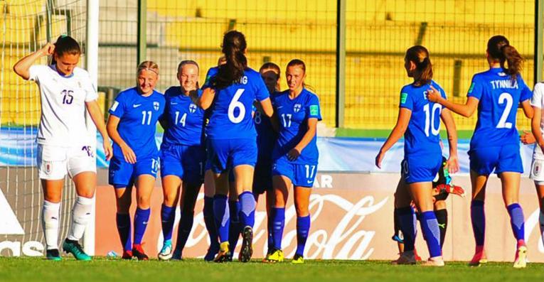 Suomen U17-joukkue taisteli Uruguayta vastaan 1–1-tuloksen Aino Vuorisen maalilla.
