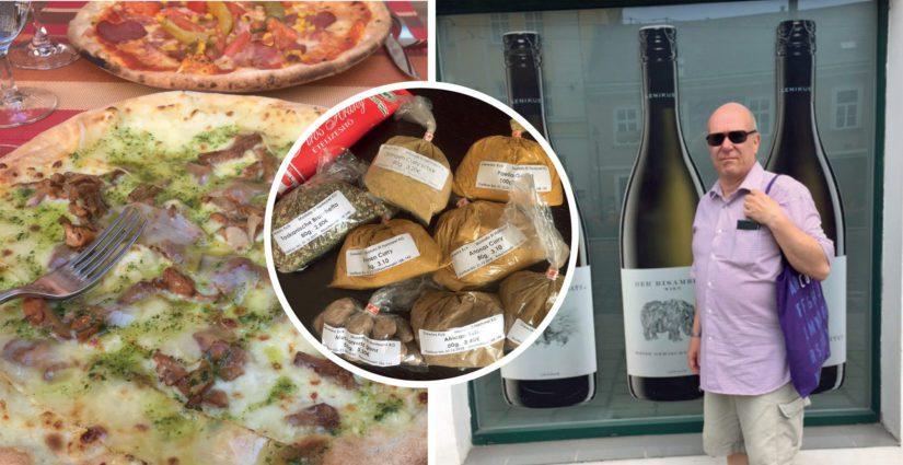 Tällaisen tavallisen matkailijan perusasioiden äärellä ollaan: pizzaa, mausteita ja viiniä!