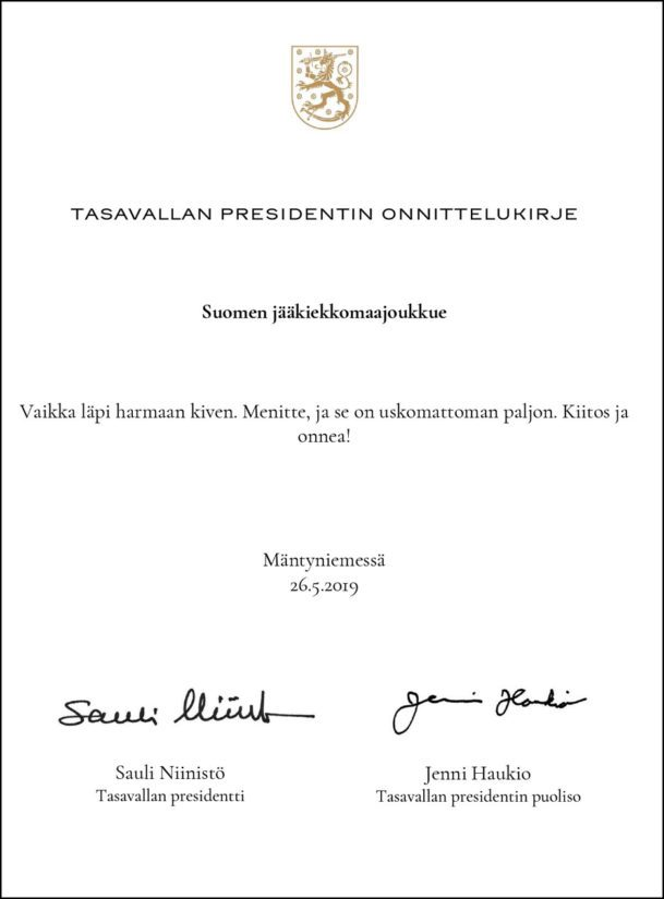 Myös presidenttipari ehti jo onnitella kultaleijonia.