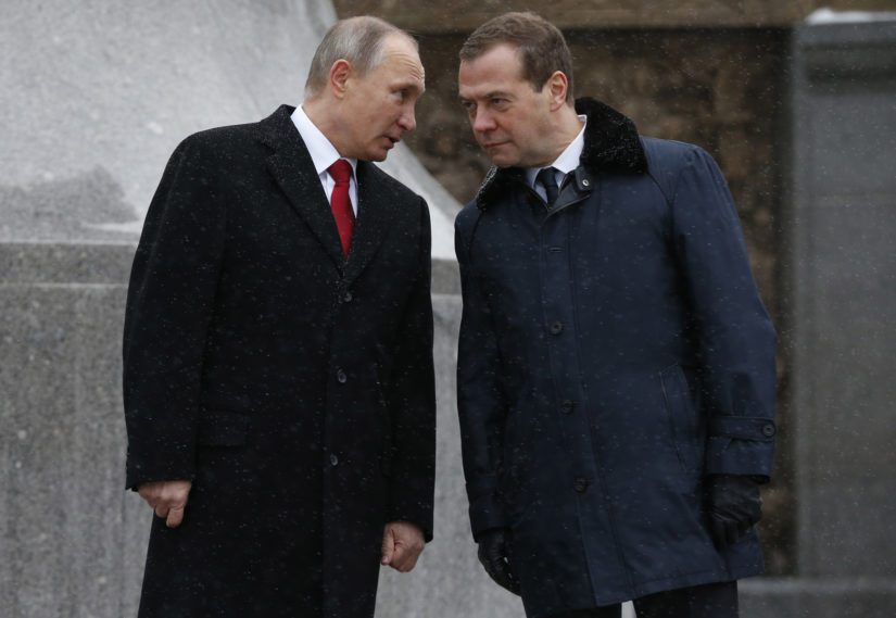 MOSCOW, RUSSIA - NOVEMBER 4, 2016: Russia's President Vladimir Putin (L) and Russia's Prime Minister Dmitry Medvedev attend the unveiling of a monument to Prince Vladimir the Great, ruler who Christianised Kievan Rus, in Borovitskaya Square by the Moscow Kremlin. Dmitry Astakhov/Russian Government Press Office/TASS All Over Press