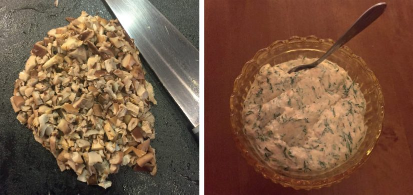 Hyvät työvälineet ovat hyödyllisiä sieniäkin käsitellessä. Lohimousse onkin valmista ja näyttää aika hyvältä.