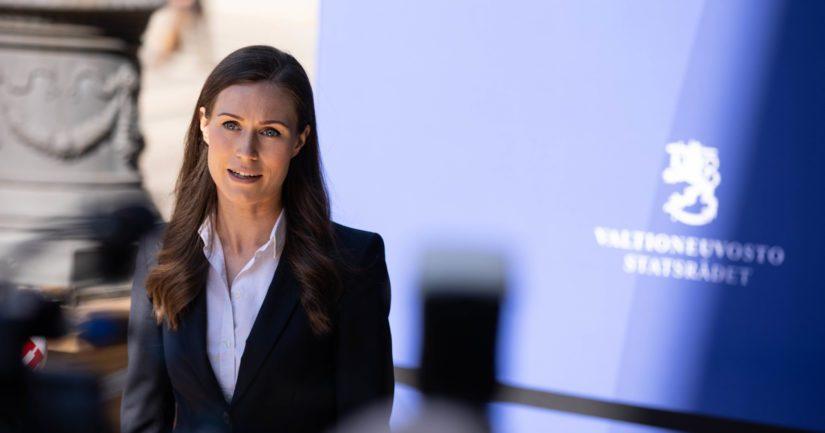 Pääministeri Sanna Marin hallituksen koronatilannekatsauksessa Säätytalossa.