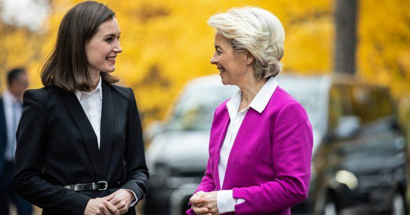 Pääministeri Sanna Marin ja komission puheenjohtaja Ursula von der Leyen tapasivat Helsingissä.