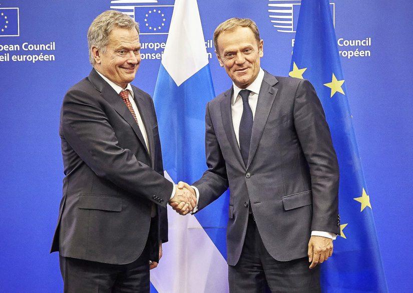 Eurooppa-neuvoston puheenjohtaja esitti Sauli Niinistölle EU:lle yhteisiä terrorismin vastaisia poliiseja. (Kuva TPK Mario Salerno)