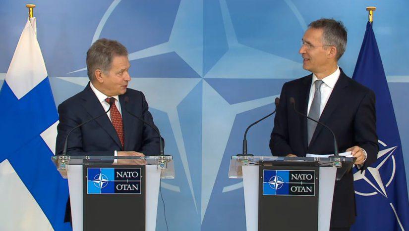 Presidentti Niinistö ja Naton pääsihteeri Jens Stoltenberg totesivat Suomen ja Naton olevan läheisiä kumppaneita. (Kuva Nato)