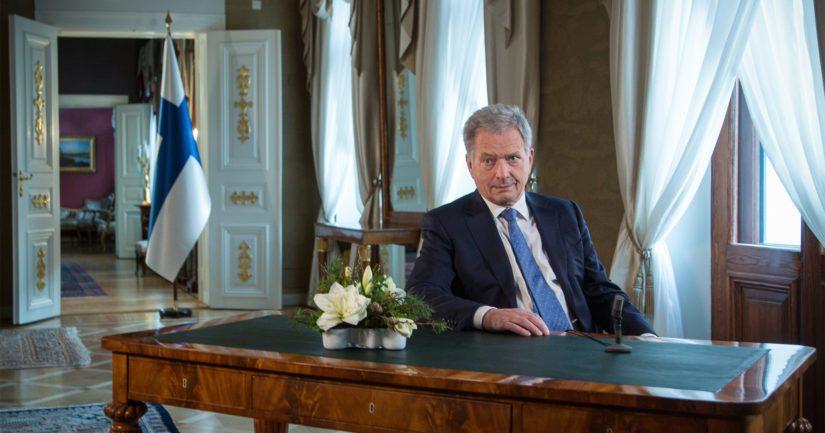 Tasavallan presidentti Sauli Niinistö piti perinteisen uudenvuoden puheensa 1.1.2021.