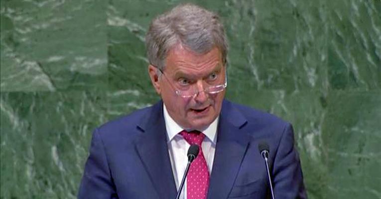 Tasavallan presidentti Sauli Niinistö piti Suomen kansallisen puheenvuoron YK:n yleiskokouksen avajaisissa.