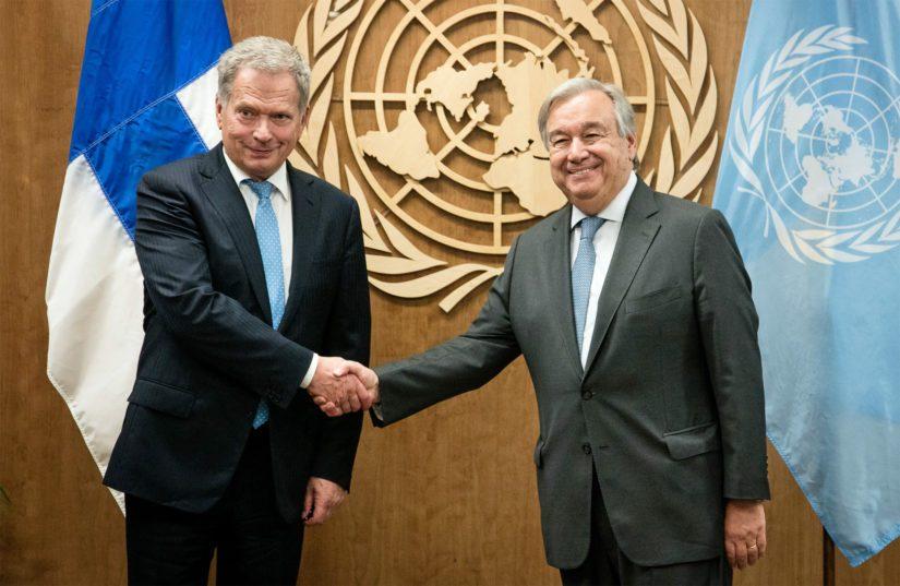 Presidentti Niinistö tapasi YK:n pääsihteeri António Guterresin ennen huippukokouksia.