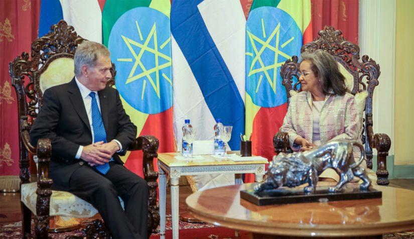 Etiopian presidentti Sahle-Work Zewden vastaanotti presidentti Sauli Niinistön vierailulle Addis Abebassa.