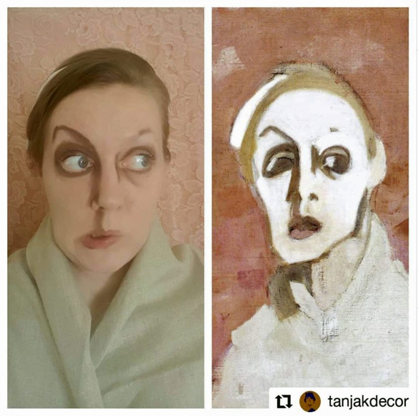 @tanjakdecor versioi taitavasti Helene Schjerfbeckin teoksen Mustasuinen omakuva (1939).