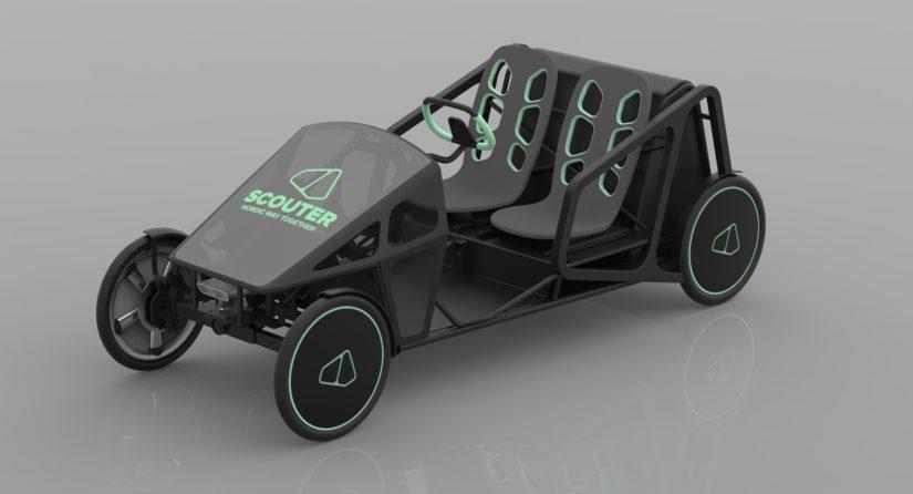 Scouter LMV on kaksipaikkainen ja nelipyöräinen poljettava sähkömoottoriavusteinen kevytajoneuvo.