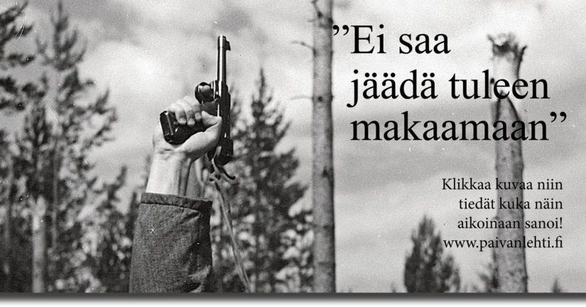 Vänrikki Kariluoto johti joukkojaan edestä niin vuonna 1955 Edvin Laineen ohjauksessa kuin vuonna 2017 Aku Louhimiehen näkemyksen mukaan.