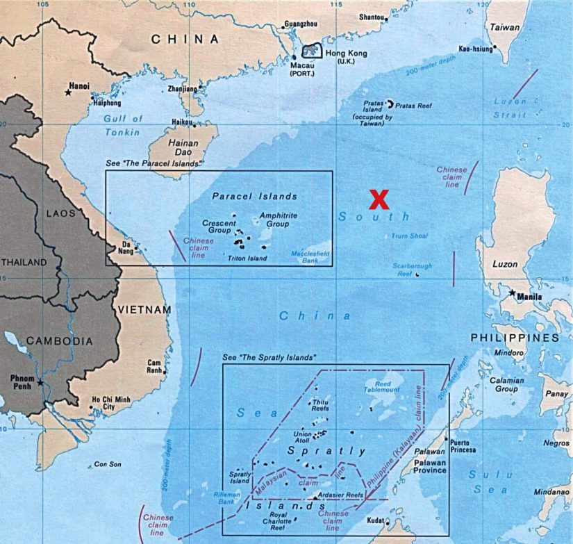 Veneen sijainti Etelä-Kiinan merellä on omistusoikeudeltaan kiisteltyjen Paracel-saarten ja Filippiinien välissä, etelään Hong Kongista ja Kiinasta.