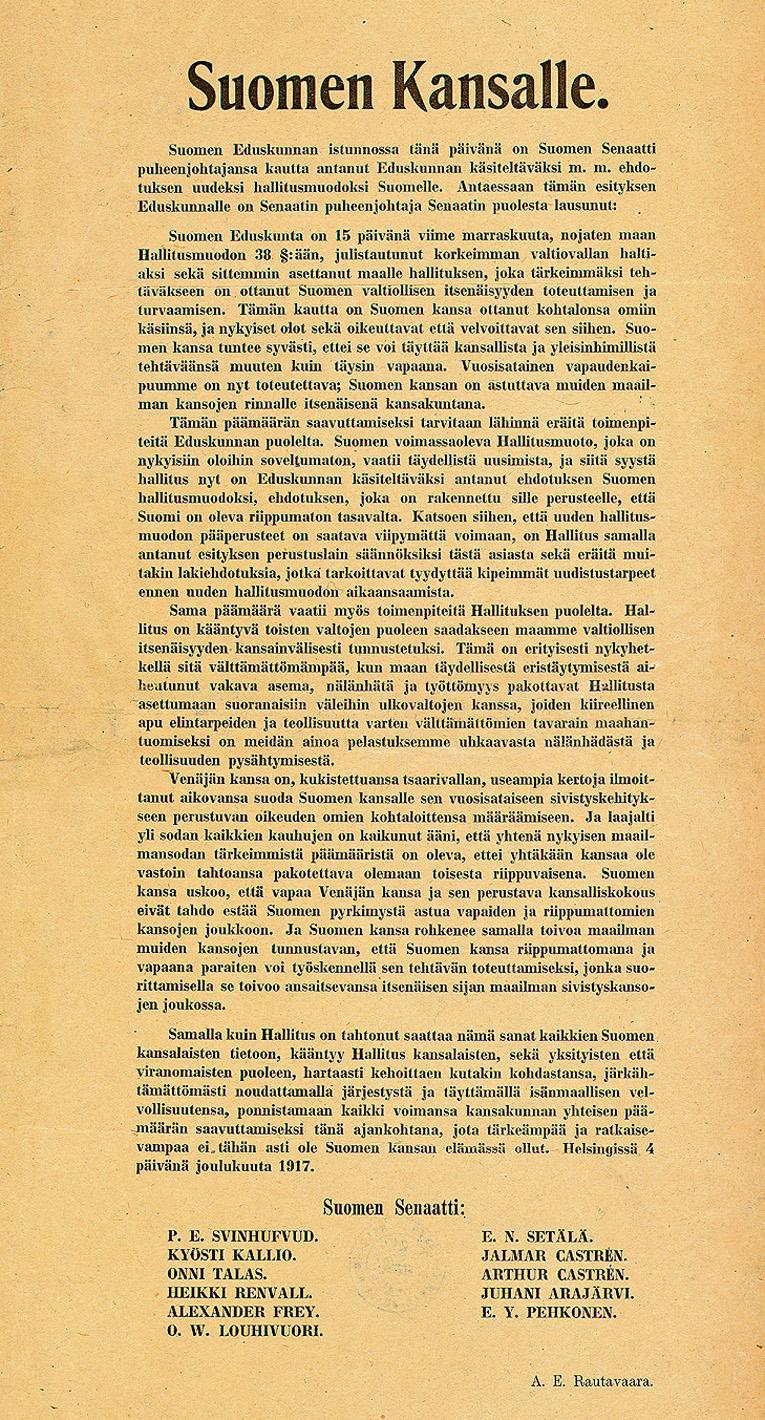 Suomen itsenäisyysjulistus 4.12.1917.