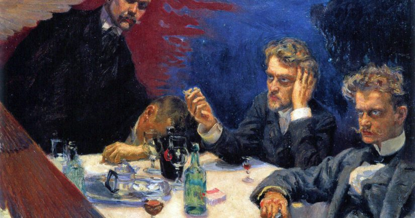 Symposion-taulussa Akseli Gallen-Kallela, Robert Kajanus, Jean Sibelius sekä sammunut Oskar Merikanto.