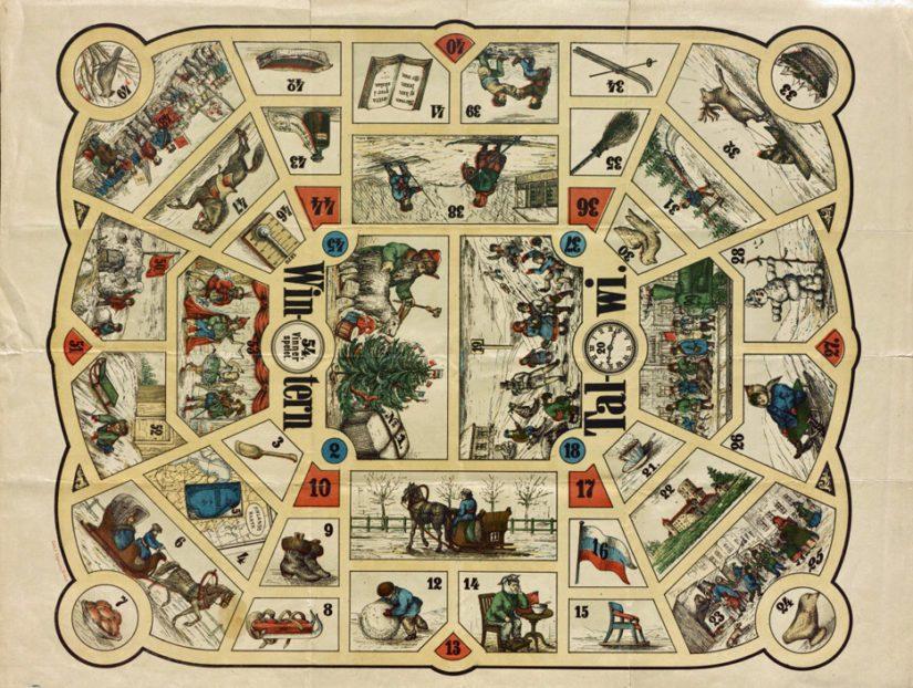 Vuonna 1871 julkaistussa Talwi-lautapelissä pelataan talven merkeissä.
