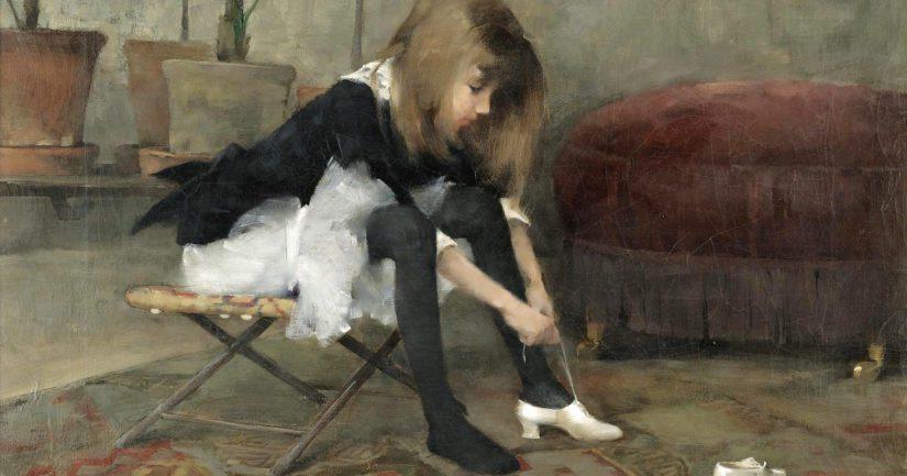 Helene Schjerfbeckin Tanssiaiskenkien mallina on taiteilijan pitkäsäärinen serkkutyttö.