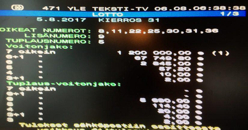 Varmuuden vuoksi voittaja otti myös kuvan teksti-tv:n ruudusta.