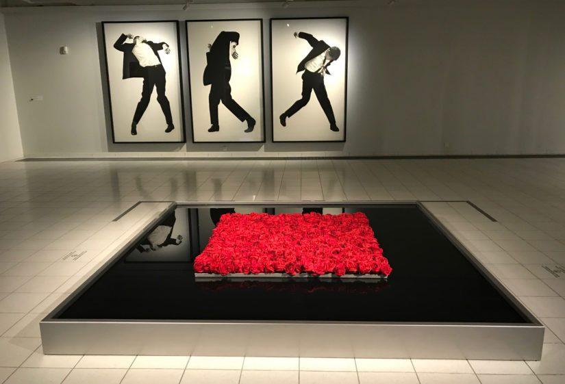 Punaiset ruusut ovat poikkeus Robert Longon mustavalkoisessa värimaailmassa.