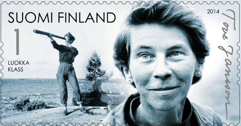 Tove Janssonin 100-vuotisjuhlan kunniaksi julkaistiin postimerkki, jossa taiteilija on rakkaalla kesäsaarellaan.