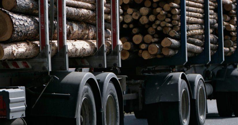 Täysperävaunullinen puutavararekka heittelehti tiellä puolelta toiselle.