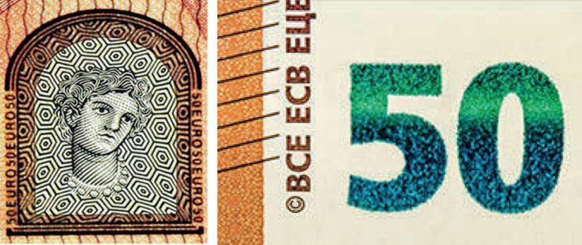 Kun seteliä katsoo valoa vasten, läpikuultavaan ikkunaan ilmestyvät Europa-neidon kasvot. Sama kasvokuva näkyy myös uusien setelien vesileimassa. Lisäksi seteleissä on hohtavanvihreä numero.