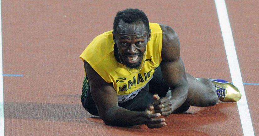 Usain Boltin viimeinen kilpailu päättyi dramaattisesti vasemman jalan kramppiin reilut 30 metriä ennen maalia.