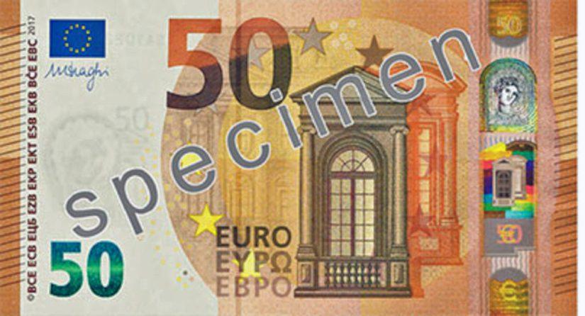 Seteleistä 50 euron seteli on euroalueen käytetyin seteli.