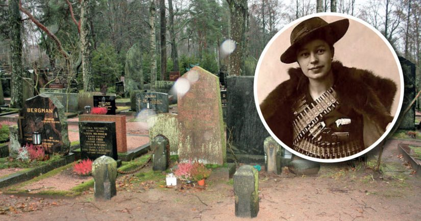 Hietaniemen hautausmaan korttelista 12, riviltä 6, löytyi Verna Eriksonin ja perheen ikihauta Helsingissä.