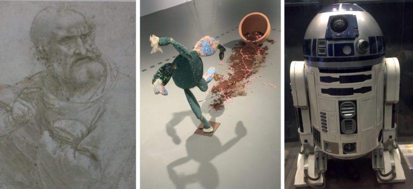 Leonardon omakuva löytyy Albertinasta, MAK:in näyttelystä poimin Nilbar Güresin ruukustaan karkaavan kaktuksen ja aidon R2D2:n, jonka kanssa kävimme miellyttävän rupattelun (puhuin yksikseni).