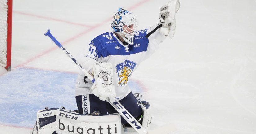 Maalivahti Jussi Olkinuora voitti Leijonissa 2019 MM-kultaa.