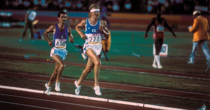 Martti Vainio ja olympiavoittaja Alberto Cova Los Angelesin 1984 olympiakisojen 10 000 metrin juoksussa.